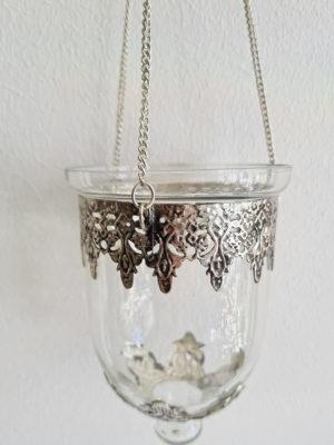 Ampel i glas och silver. Besök Blickfång.se