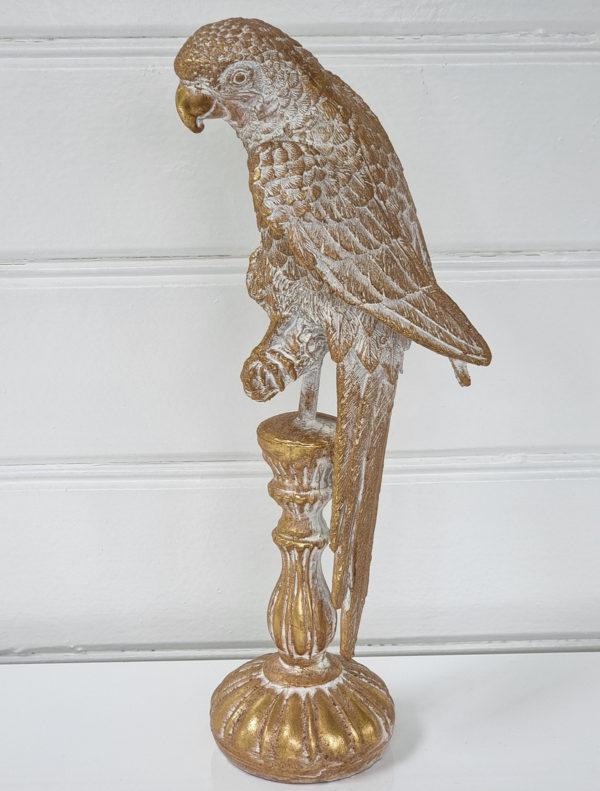 Papegoja-dekorationsdjur-i-guld